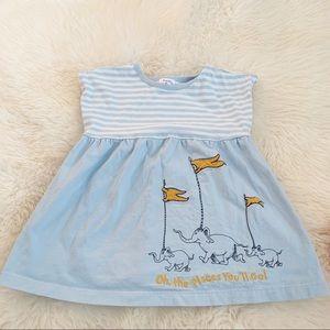 Hanna Andersson light blue Dr. Seuss dress - 2t
